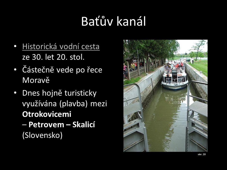 Baťův kanál Historická vodní cesta ze 30. let 20. stol.
