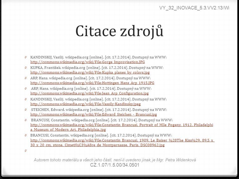 Citace zdrojů VY_32_INOVACE_5.3.VV2.13/Wi