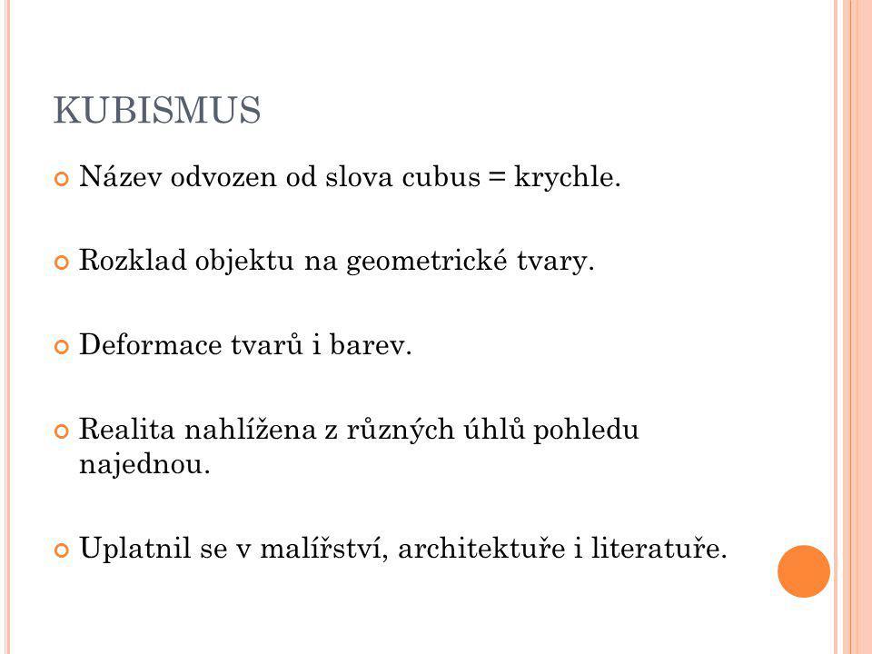 KUBISMUS Název odvozen od slova cubus = krychle.