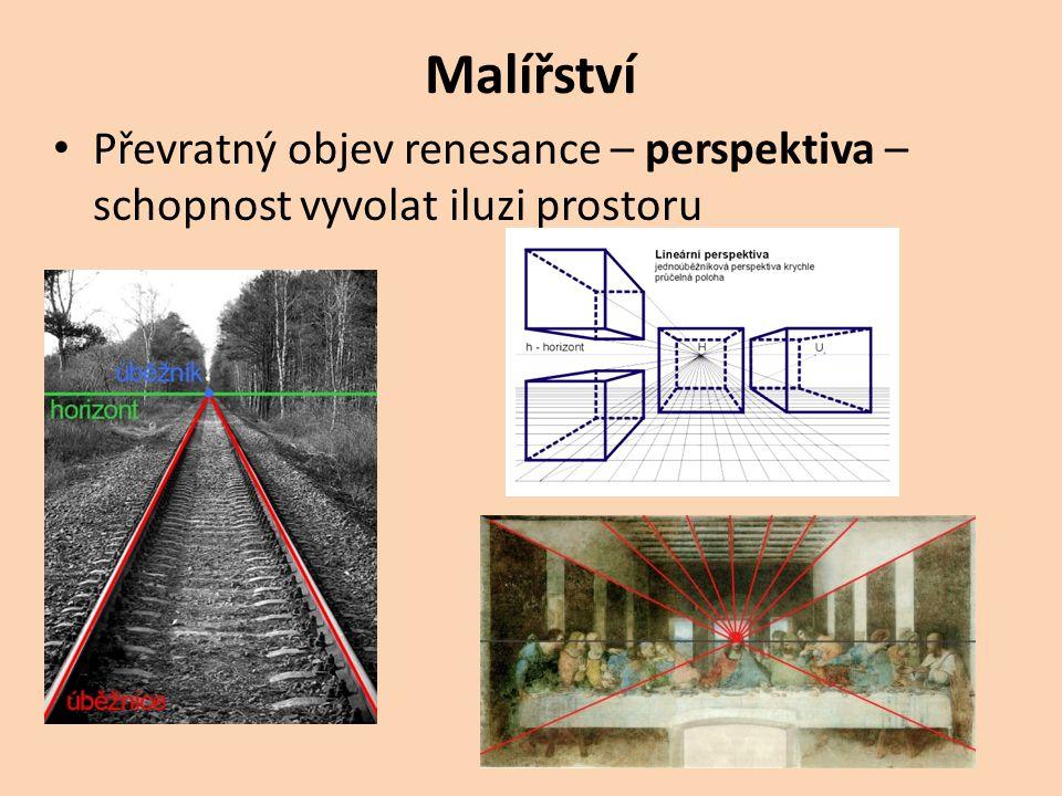 Malířství Převratný objev renesance – perspektiva – schopnost vyvolat iluzi prostoru