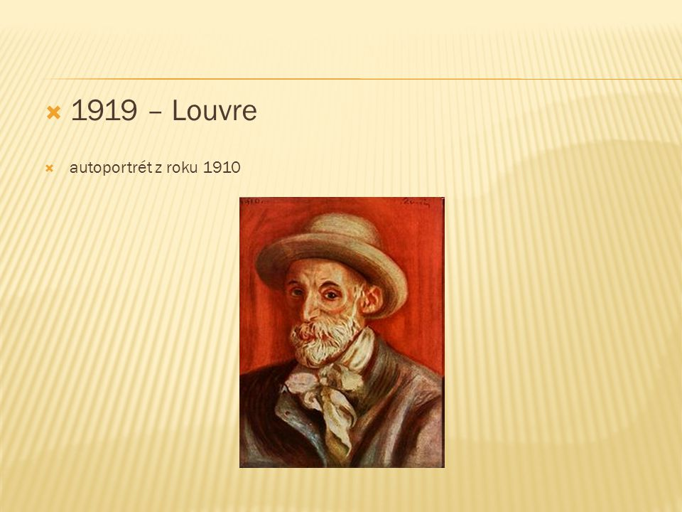 1919 – Louvre autoportrét z roku 1910