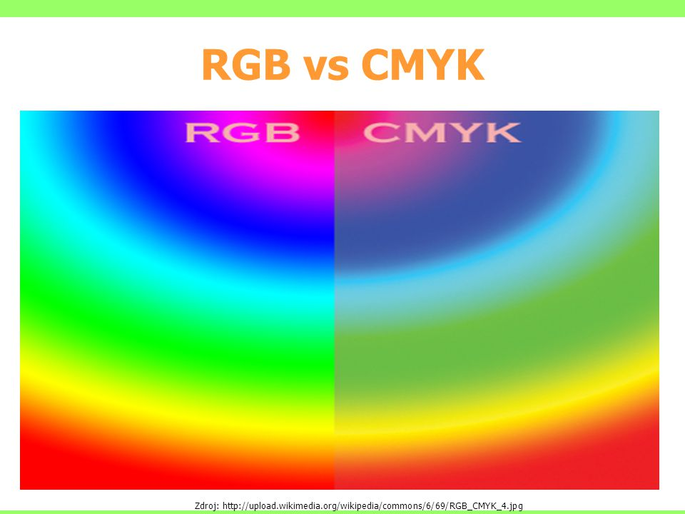 RGB vs CMYK Zdroj: http://upload.wikimedia.org/wikipedia/commons/6/69/RGB_CMYK_4.jpg
