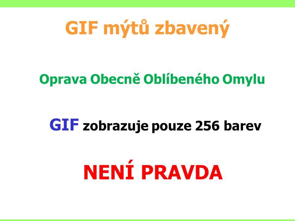 NENÍ PRAVDA GIF mýtů zbavený GIF zobrazuje pouze 256 barev