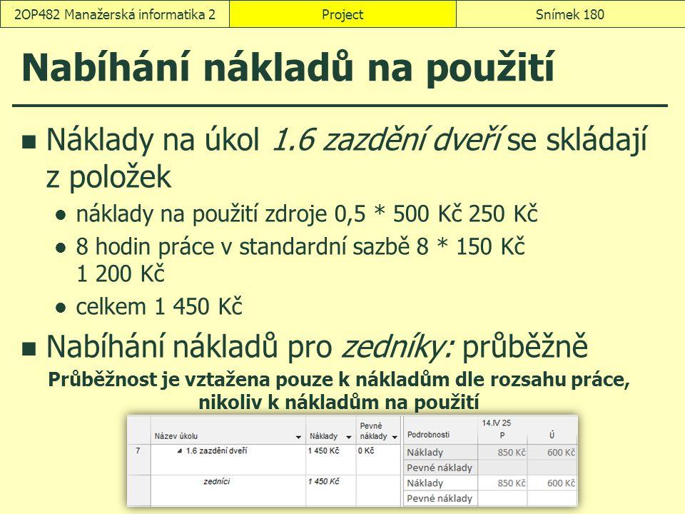 Nabíhání nákladů na použití