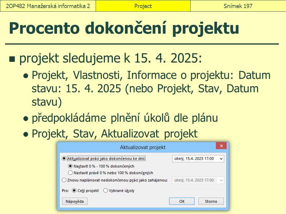 Procento dokončení projektu