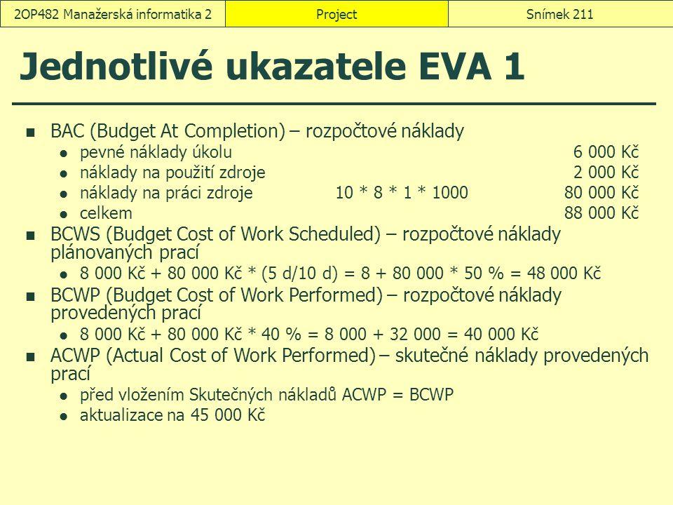 Jednotlivé ukazatele EVA 1