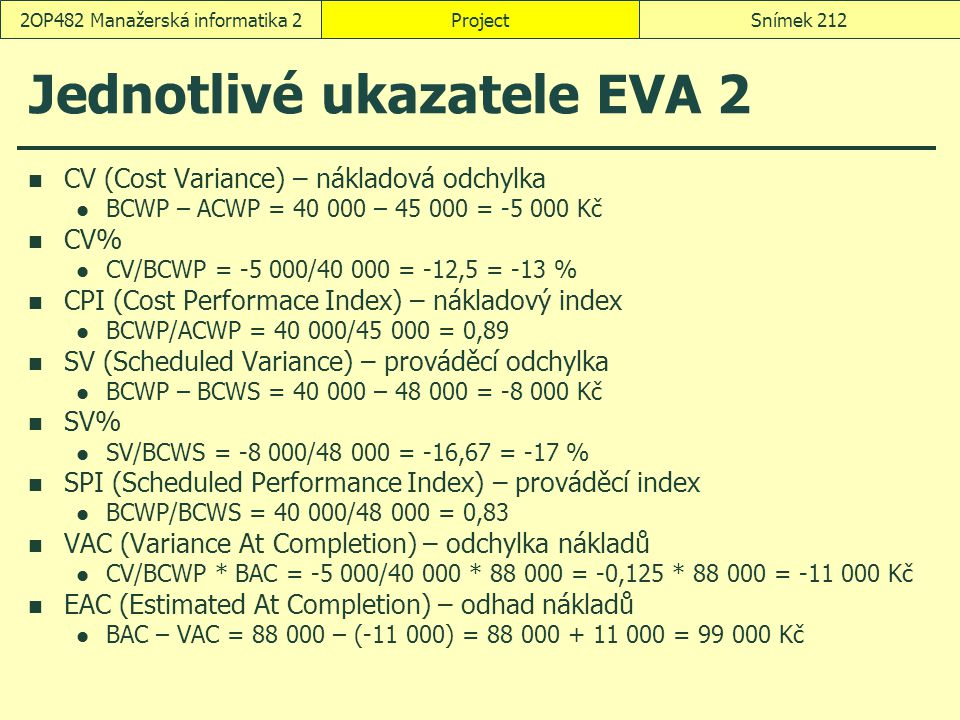 Jednotlivé ukazatele EVA 2