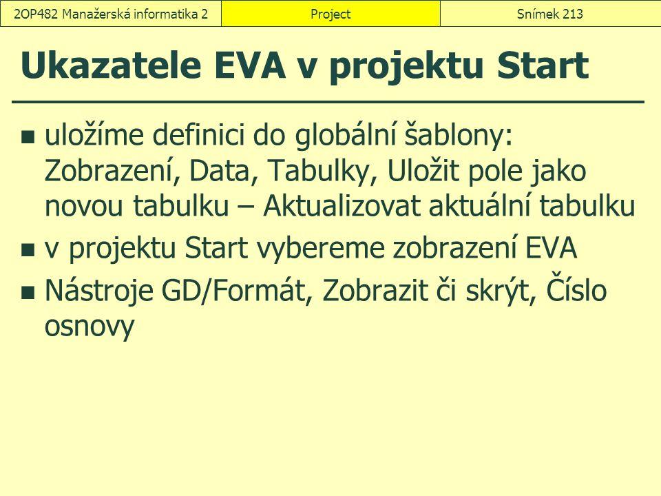 Ukazatele EVA v projektu Start