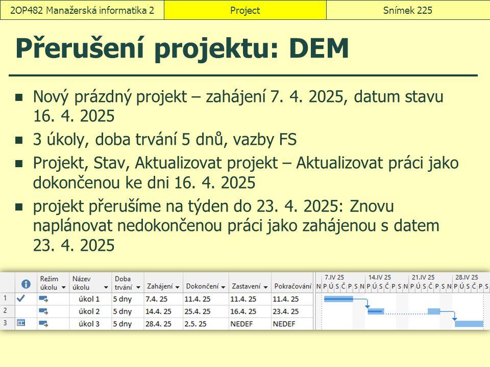Přerušení projektu: DEM