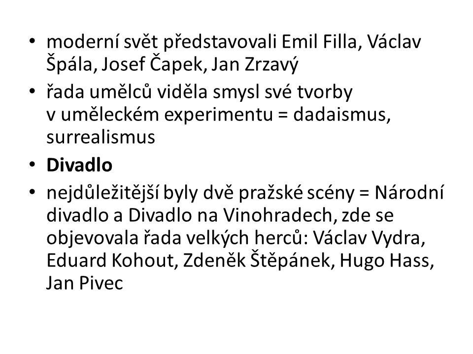 moderní svět představovali Emil Filla, Václav Špála, Josef Čapek, Jan Zrzavý