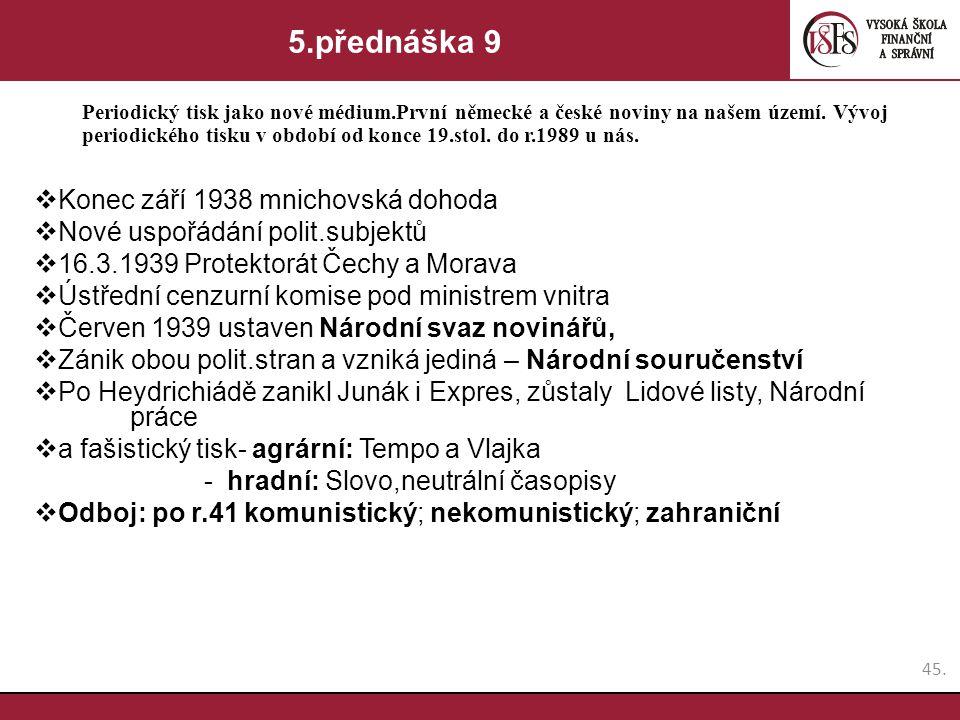 5.přednáška 9 Konec září 1938 mnichovská dohoda