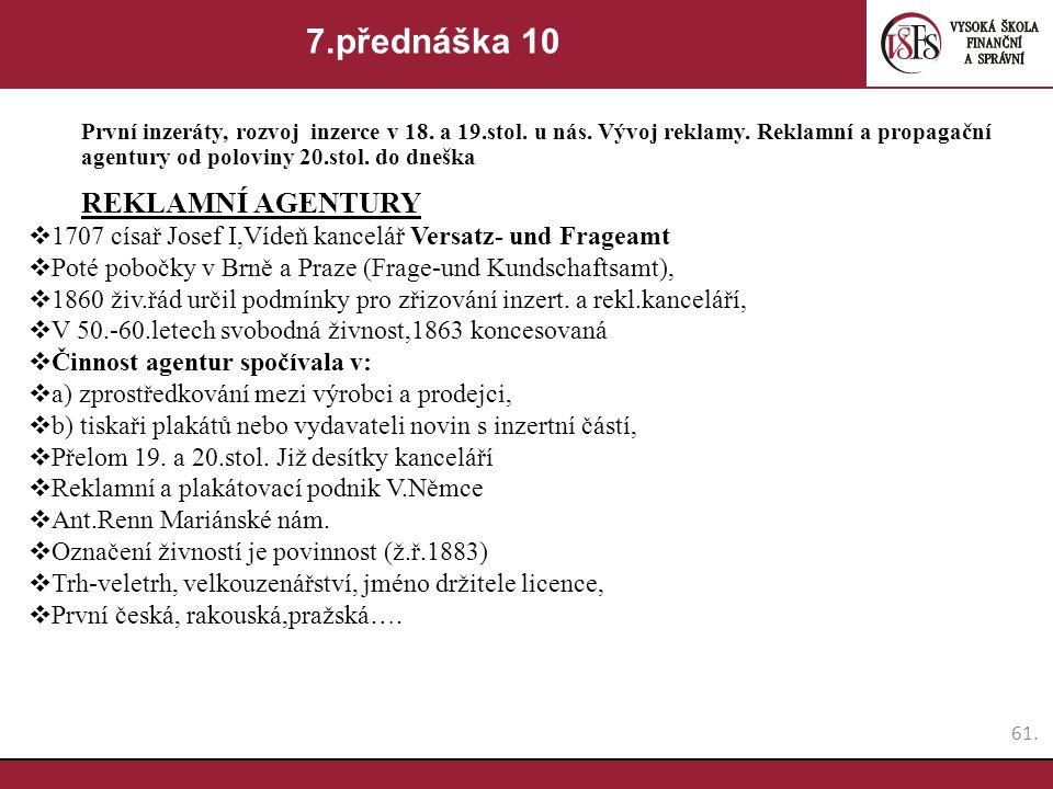 7.přednáška 10 REKLAMNÍ AGENTURY