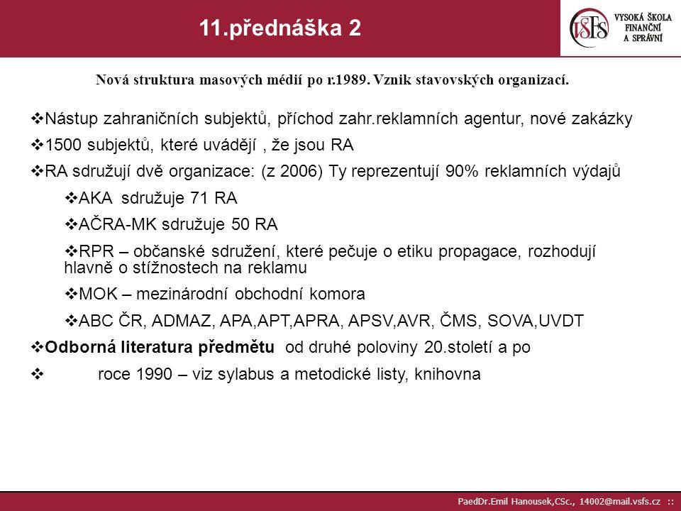 Nová struktura masových médií po r.1989. Vznik stavovských organizací.