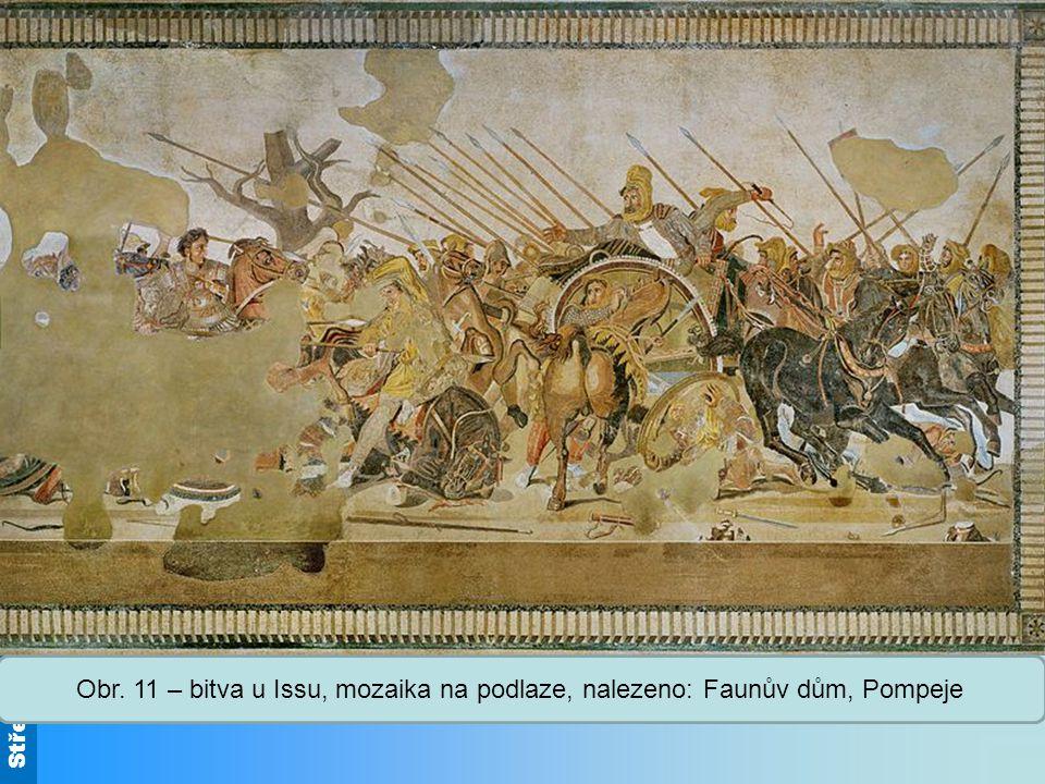 Bitva u Issu: 333 př. n. l., první střet mezi makedonským králem Alexandrem Velikým a perským králem Dareiem III., vítězství Makedonců, kt. chtěli pomstít zničení řeckých chrámů a Athén.