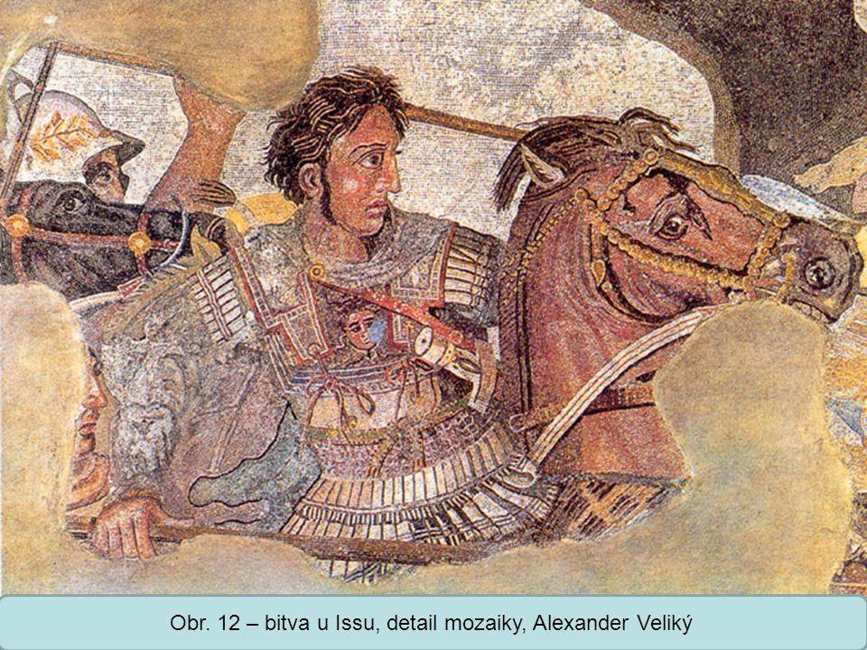 Obr. 12 – bitva u Issu, detail mozaiky, Alexander Veliký