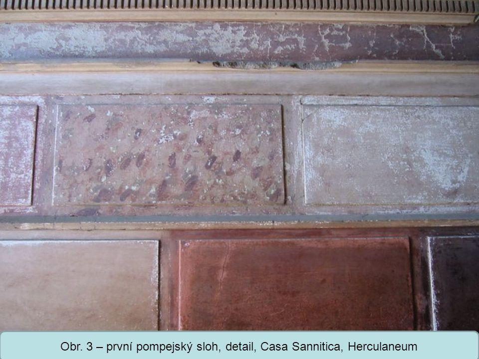 Obr. 3 – první pompejský sloh, detail, Casa Sannitica, Herculaneum