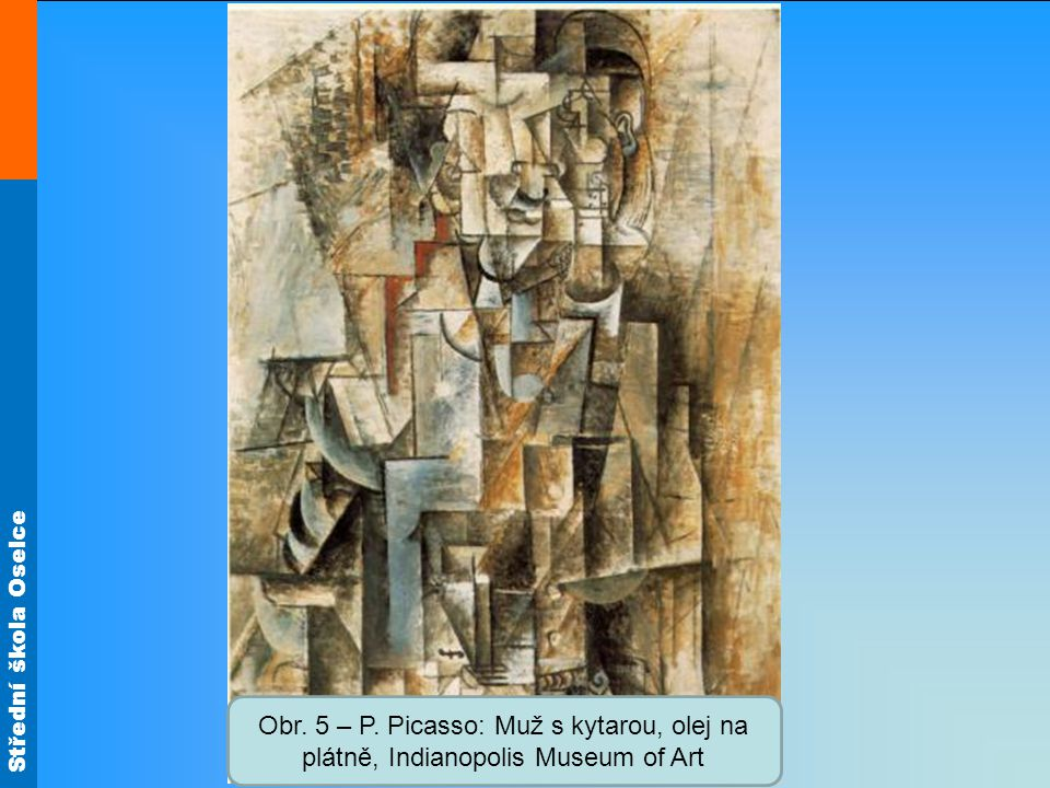 Obr. 5 – P. Picasso: Muž s kytarou, olej na plátně, Indianopolis Museum of Art
