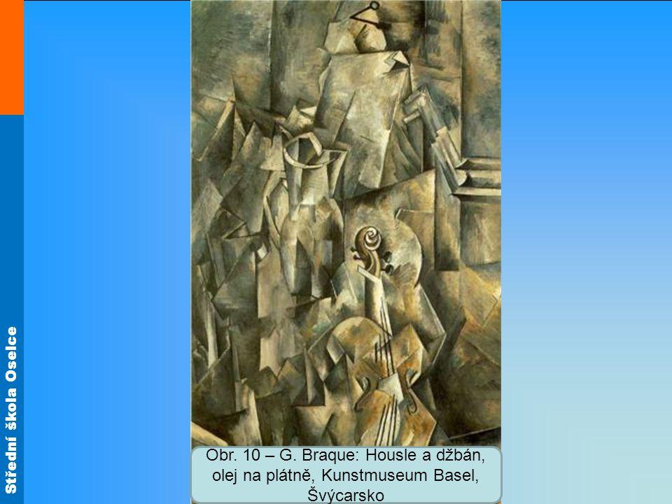 Obr. 10 – G. Braque: Housle a džbán, olej na plátně, Kunstmuseum Basel, Švýcarsko