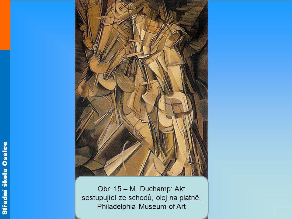 Obr. 15 – M. Duchamp: Akt sestupující ze schodů, olej na plátně, Philadelphia Museum of Art