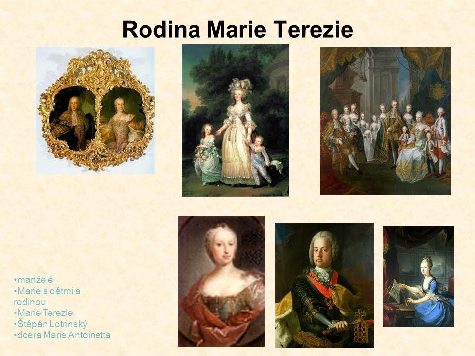 Rodina Marie Terezie manželé Marie s dětmi a rodinou Marie Terezie