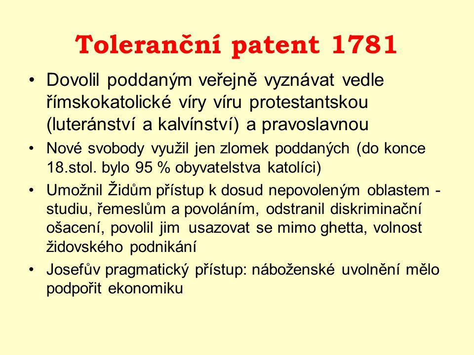 Toleranční patent 1781 Dovolil poddaným veřejně vyznávat vedle římskokatolické víry víru protestantskou (luteránství a kalvínství) a pravoslavnou.