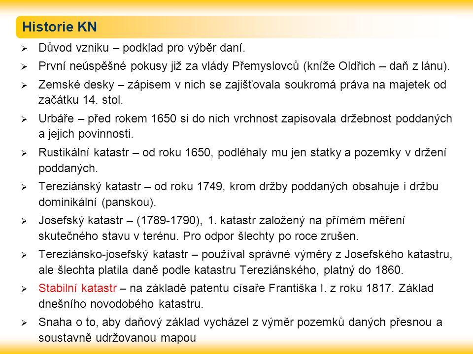 Historie KN Důvod vzniku – podklad pro výběr daní.