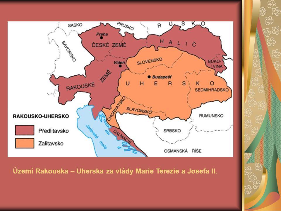 Území Rakouska – Uherska za vlády Marie Terezie a Josefa II.