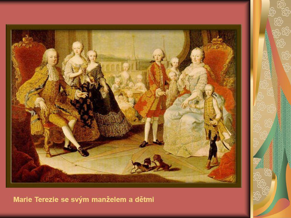 Marie Terezie se svým manželem a dětmi