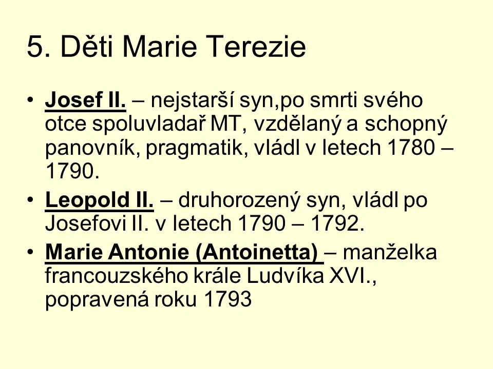 5. Děti Marie Terezie