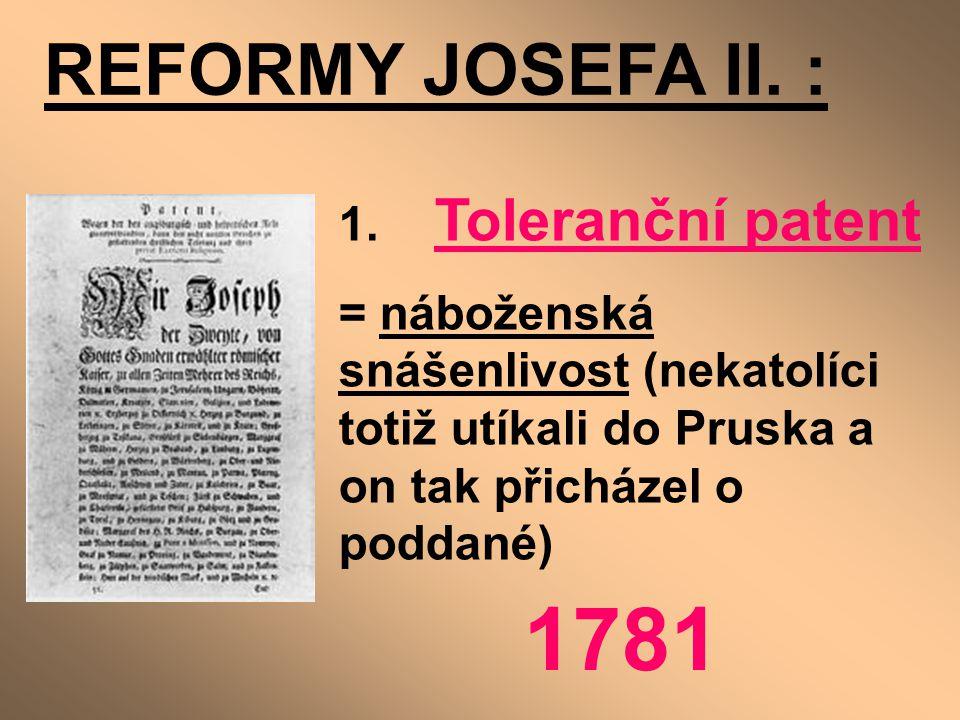 1781 REFORMY JOSEFA II. : 1. Toleranční patent