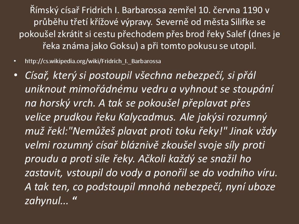 Římský císař Fridrich I. Barbarossa zemřel 10