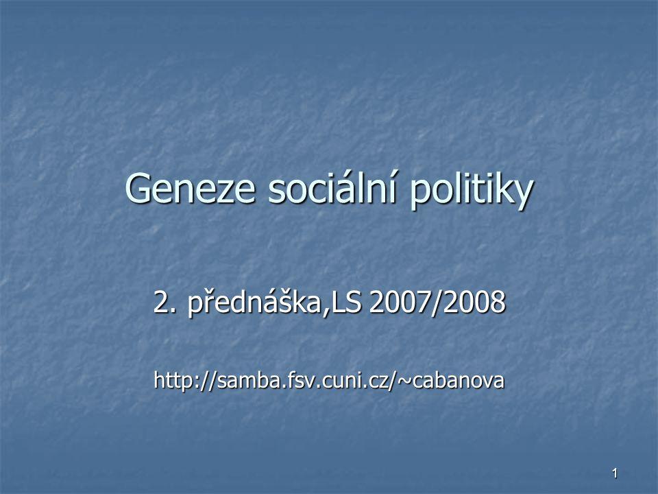 Geneze sociální politiky