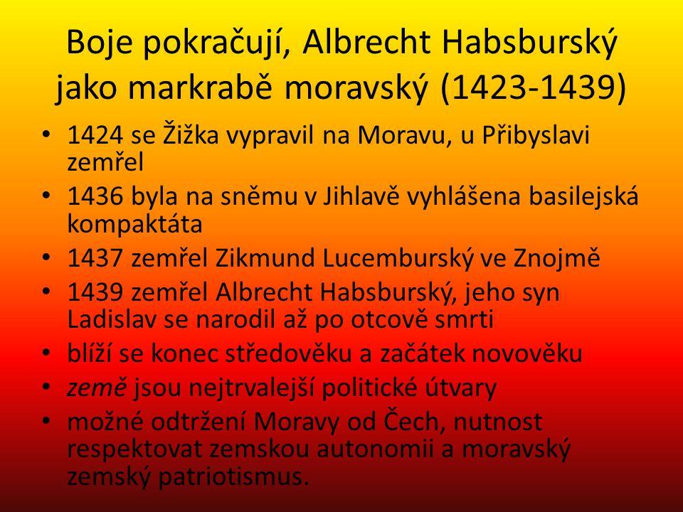 Boje pokračují, Albrecht Habsburský jako markrabě moravský (1423-1439)