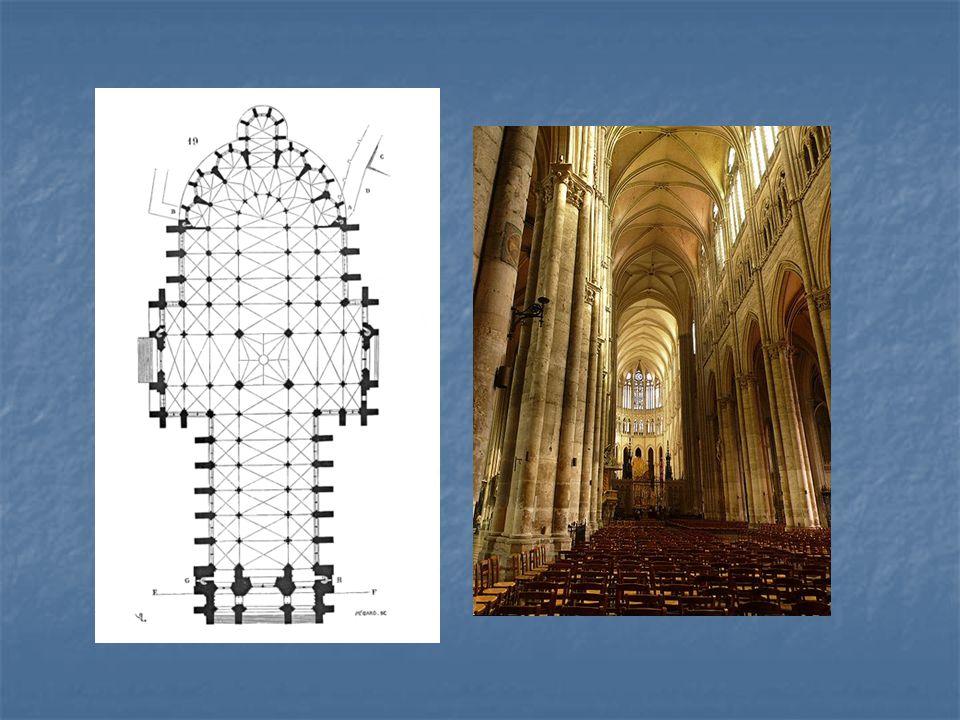Půdorys katedrály v Amiens, vlevo pohled do hlavní lodi katedrály