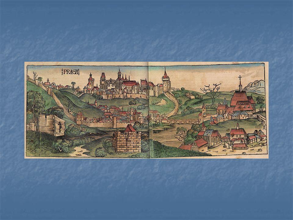 panorama Prahy z konce 15. století – část tzv. Norimberské kroniky