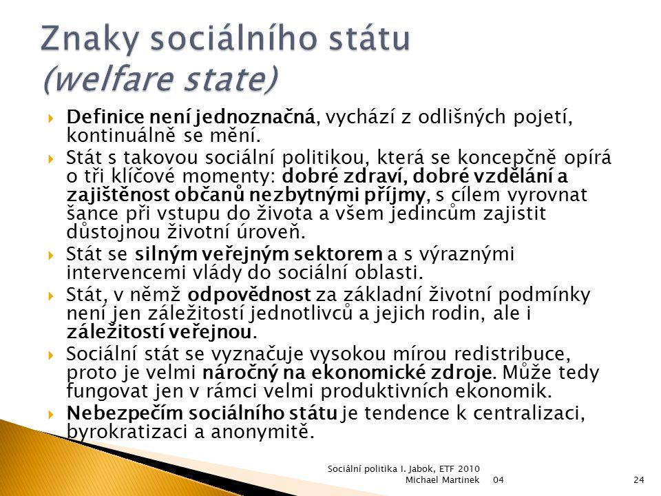 Znaky sociálního státu (welfare state)