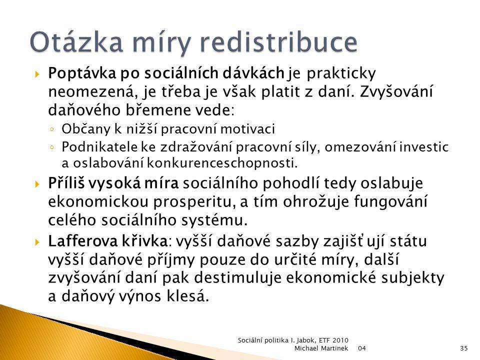 Otázka míry redistribuce