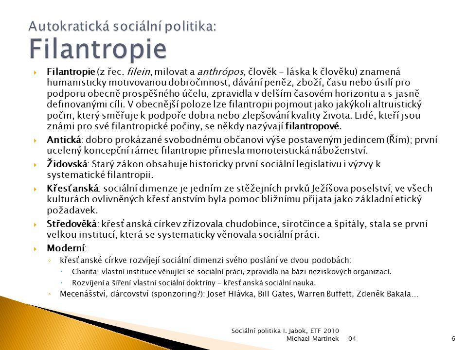 Autokratická sociální politika: Filantropie