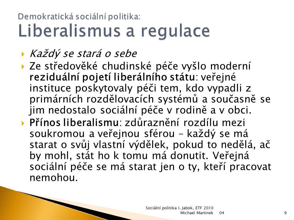 Demokratická sociální politika: Liberalismus a regulace