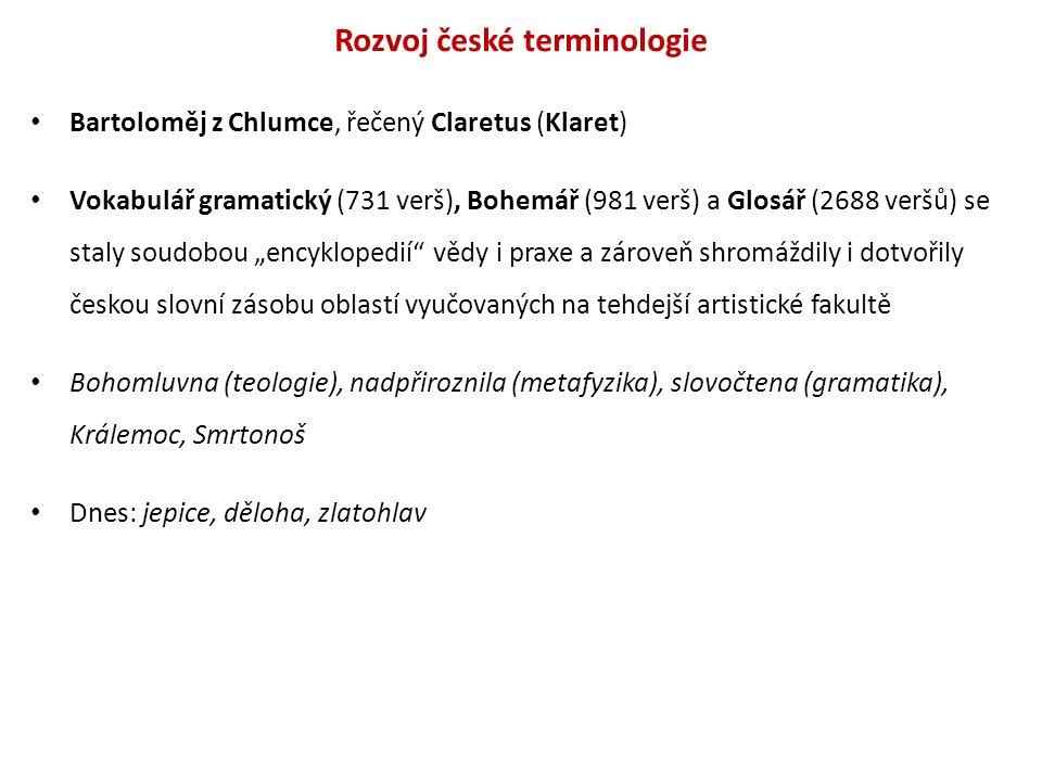 Rozvoj české terminologie