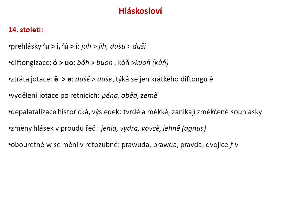 Hláskosloví 14. století: přehlásky 'u > i, 'ú > í: juh > jih, dušu > duši. diftongizace: ó > uo: bóh > buoh , kóň >kuoň (kůň)