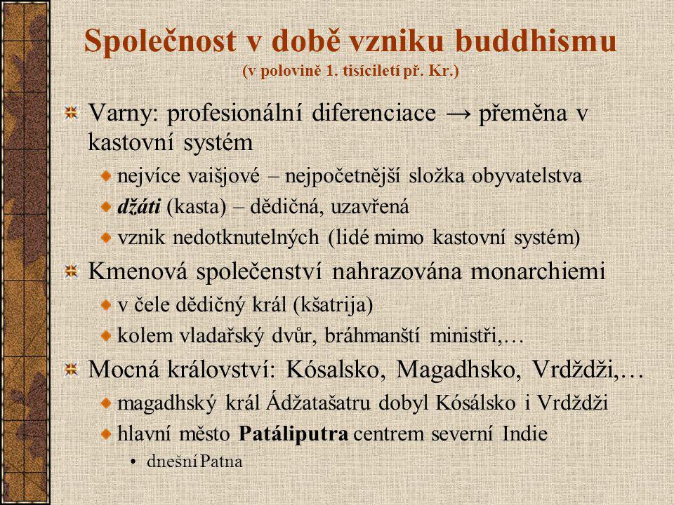 Společnost v době vzniku buddhismu (v polovině 1. tisíciletí př. Kr.)