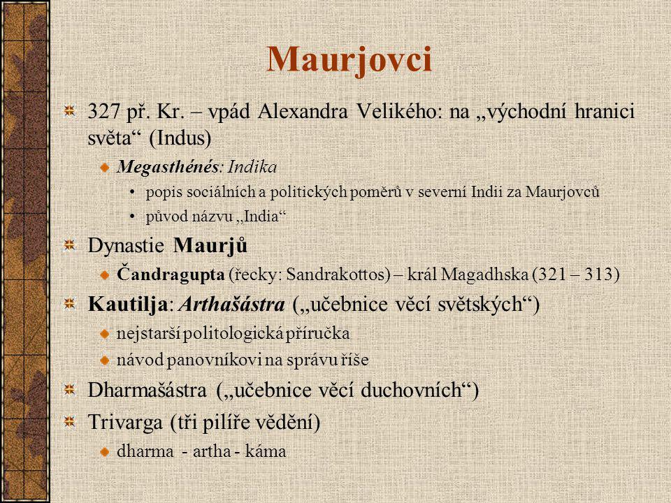 """Maurjovci 327 př. Kr. – vpád Alexandra Velikého: na """"východní hranici světa (Indus) Megasthénés: Indika."""