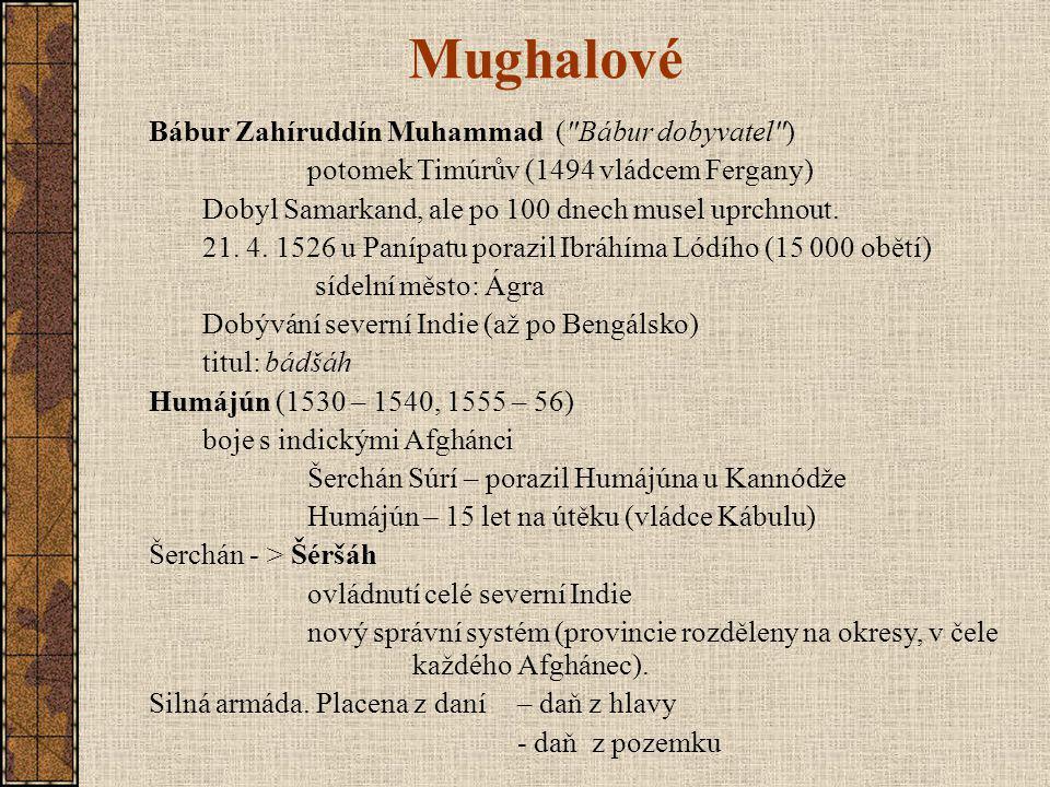 Mughalové Bábur Zahíruddín Muhammad ( Bábur dobyvatel )