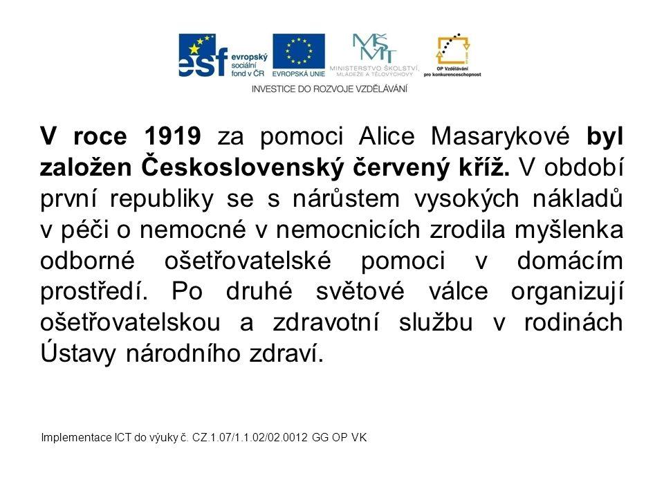 V roce 1919 za pomoci Alice Masarykové byl založen Československý červený kříž. V období první republiky se s nárůstem vysokých nákladů v péči o nemocné v nemocnicích zrodila myšlenka odborné ošetřovatelské pomoci v domácím prostředí. Po druhé světové válce organizují ošetřovatelskou a zdravotní službu v rodinách Ústavy národního zdraví.