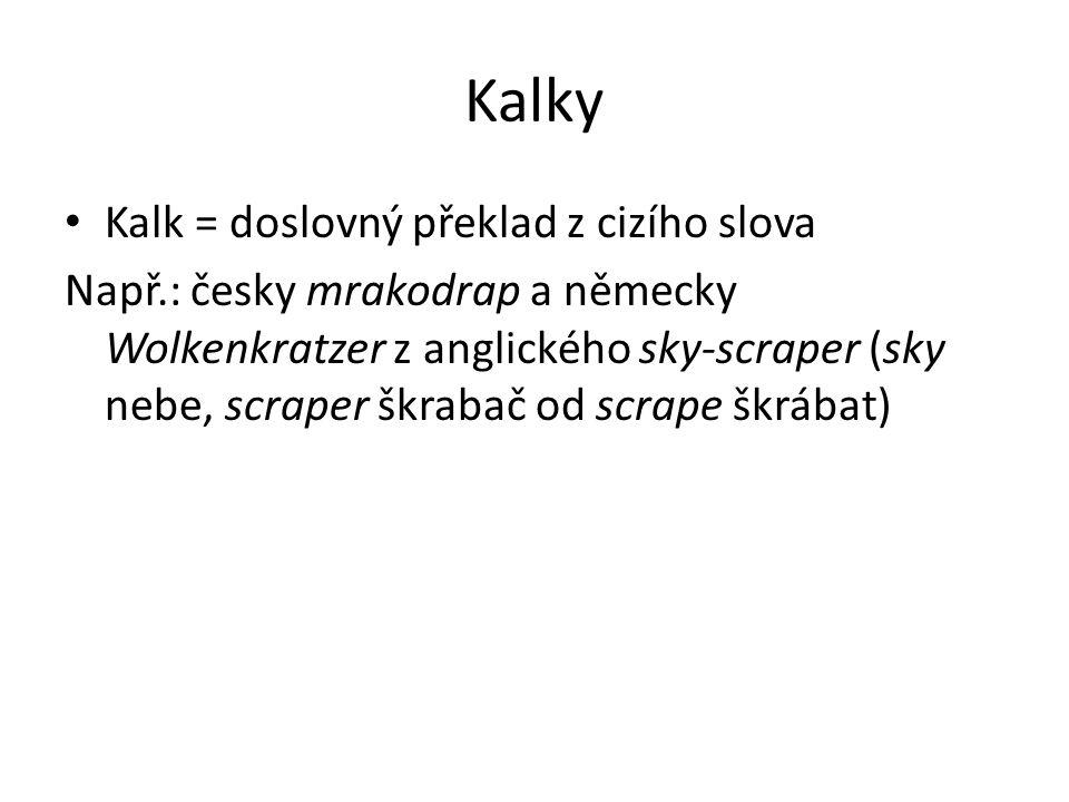 Kalky Kalk = doslovný překlad z cizího slova