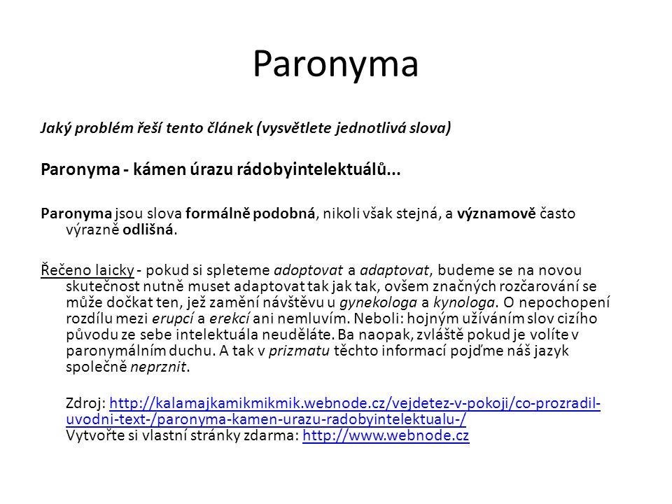 Paronyma Paronyma - kámen úrazu rádobyintelektuálů...