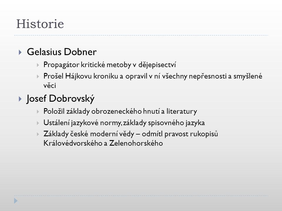 Historie Gelasius Dobner Josef Dobrovský
