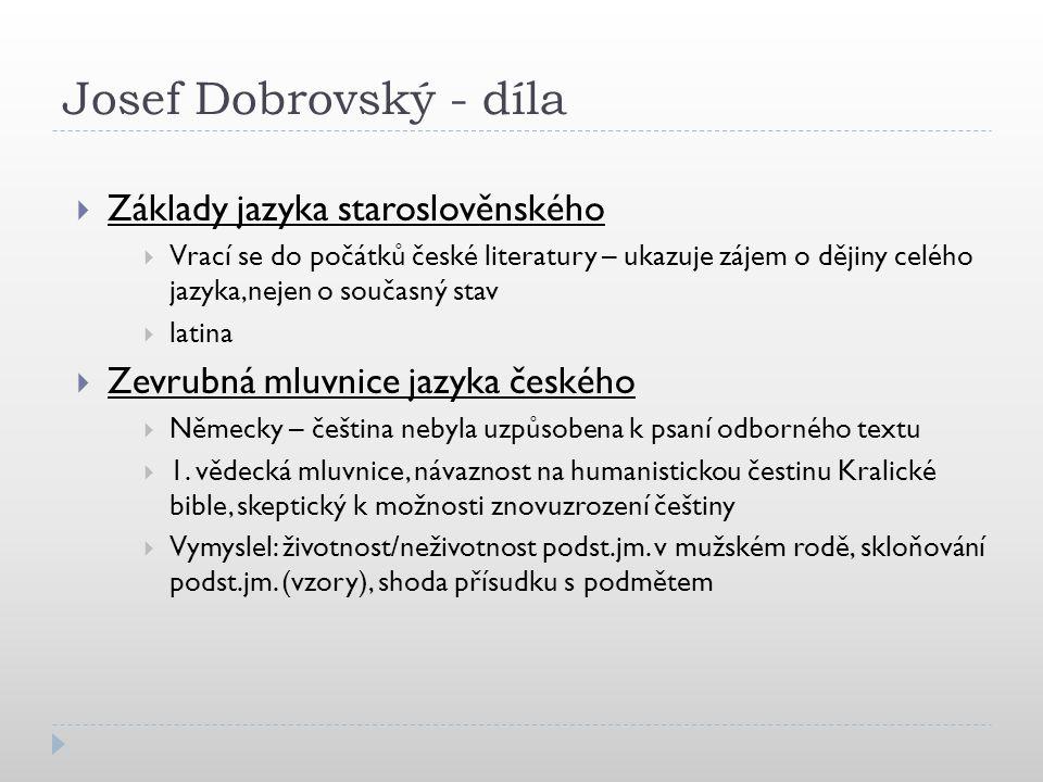 Josef Dobrovský - díla Základy jazyka staroslověnského