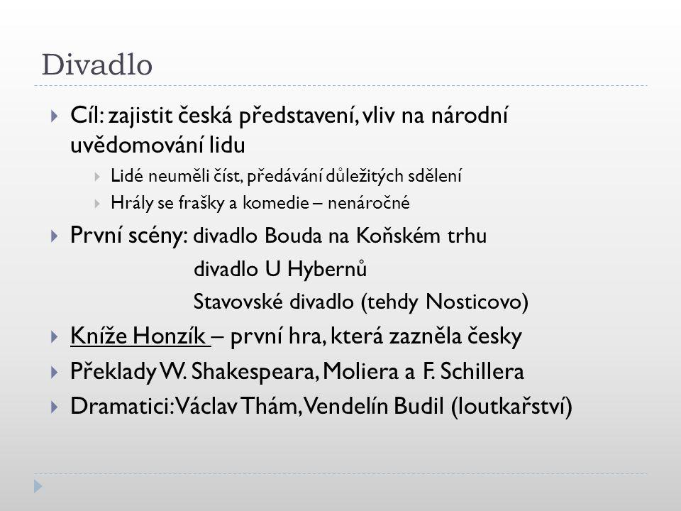 Divadlo Cíl: zajistit česká představení, vliv na národní uvědomování lidu. Lidé neuměli číst, předávání důležitých sdělení.